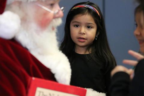 Santa visits the ECC on Monday, Dec. 16, 2019.