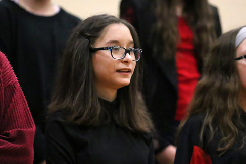 Elm Choir members perform at the school's 2019 Winter Concert.