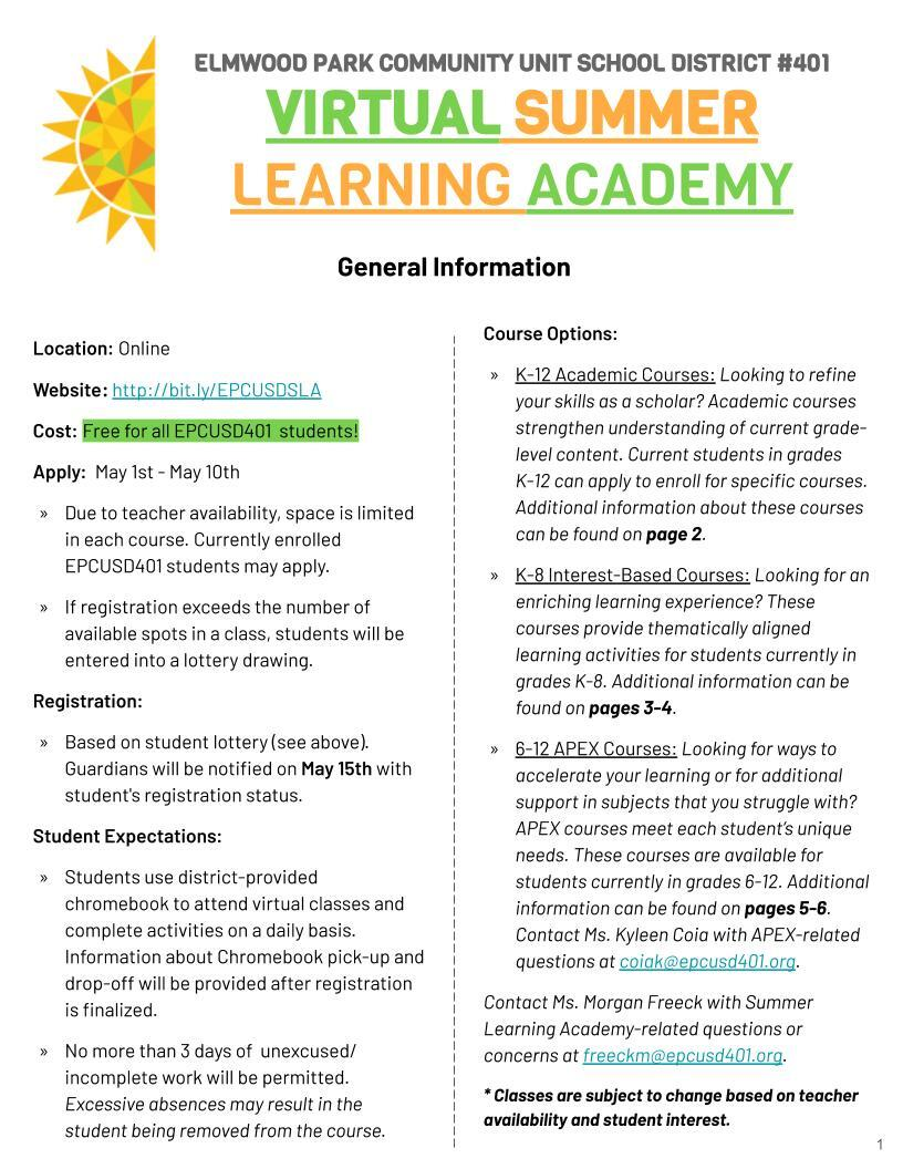 Summer Learning Academy Flyer