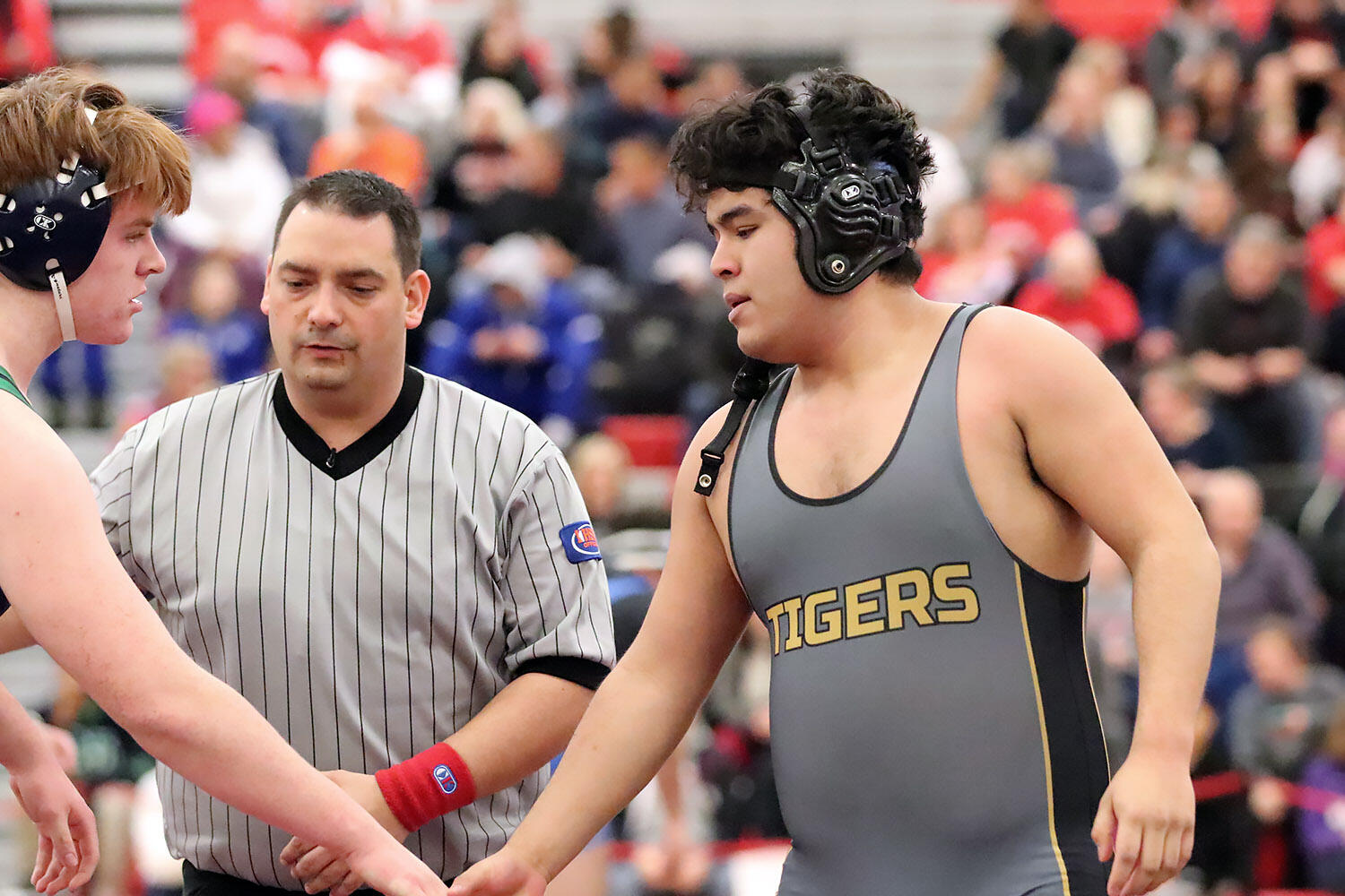 Julio Sandoval competes at IHSA wrestling sectionals.