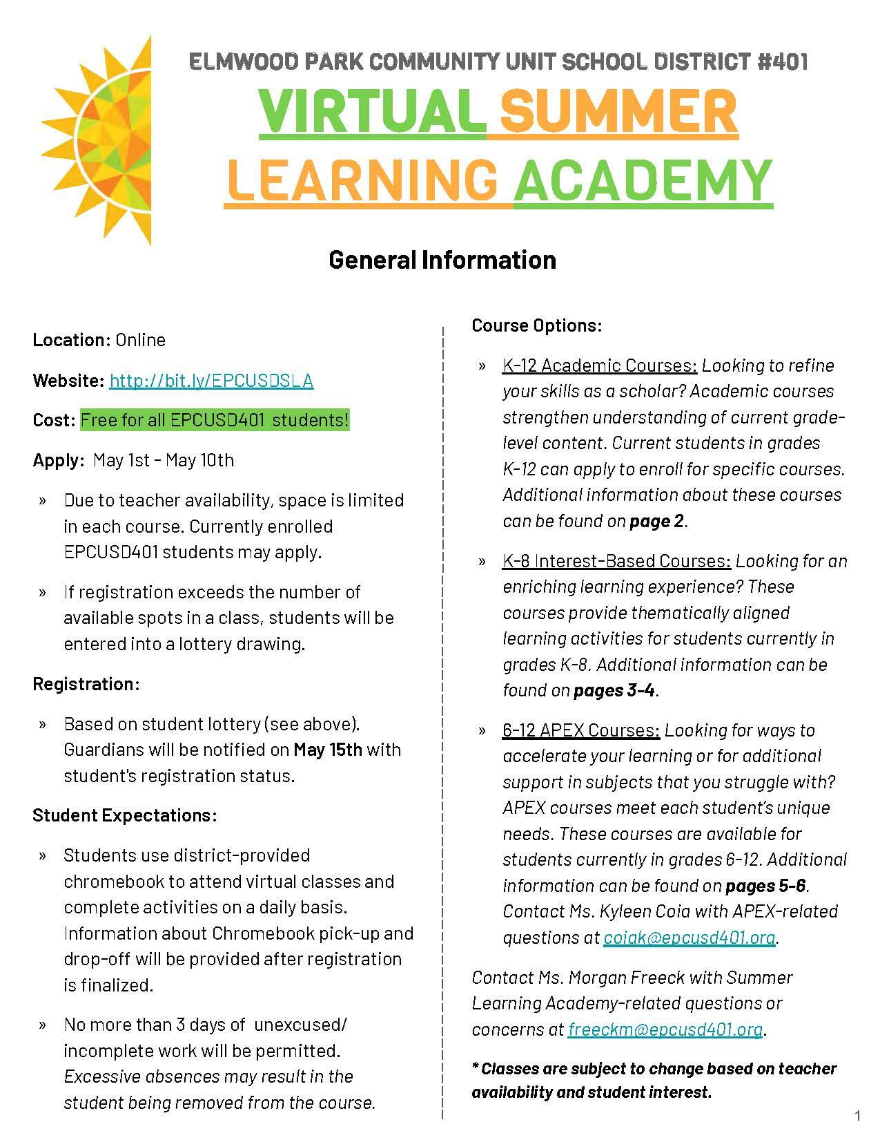 Virtual Summer Academy flyer