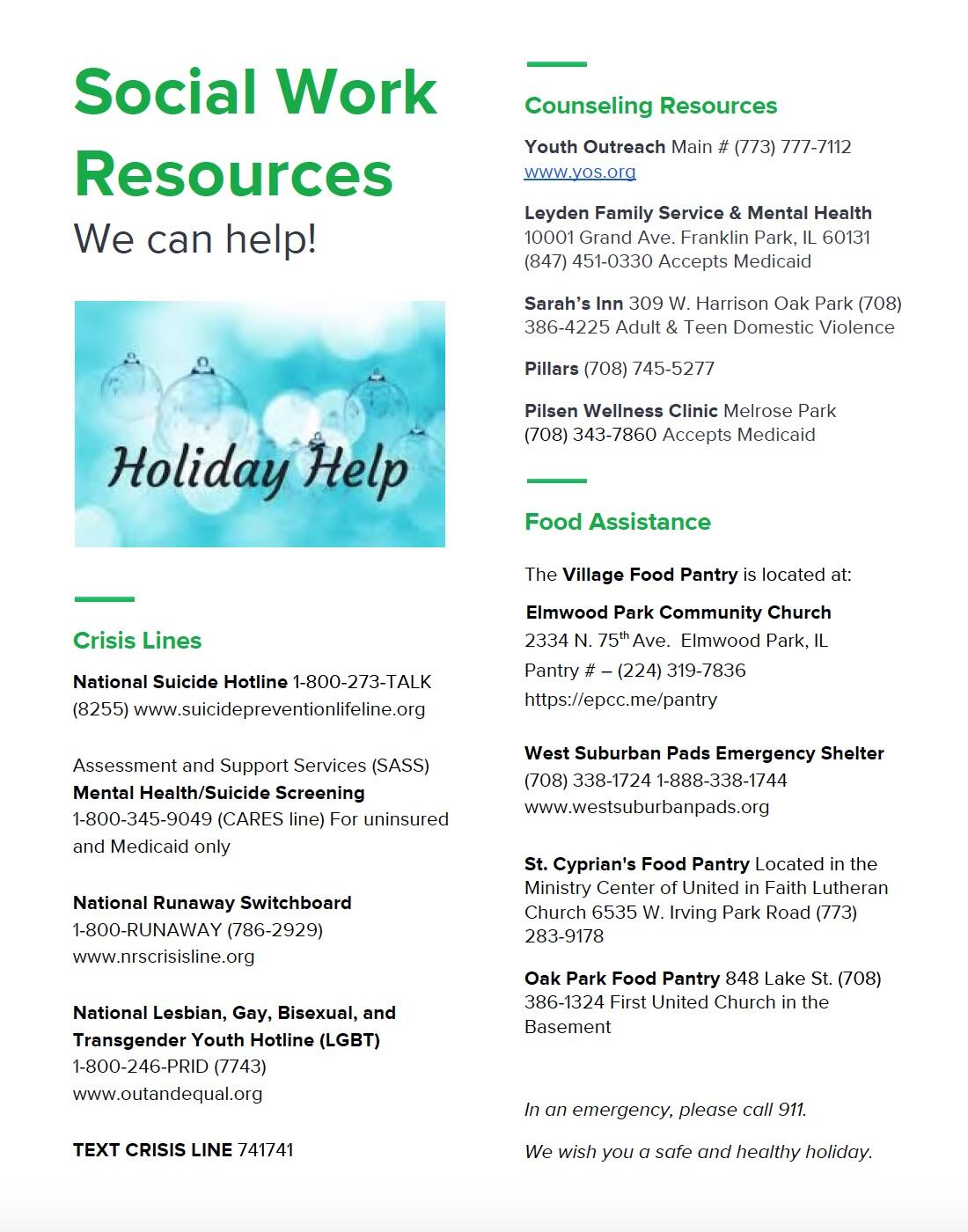 Resources flyer