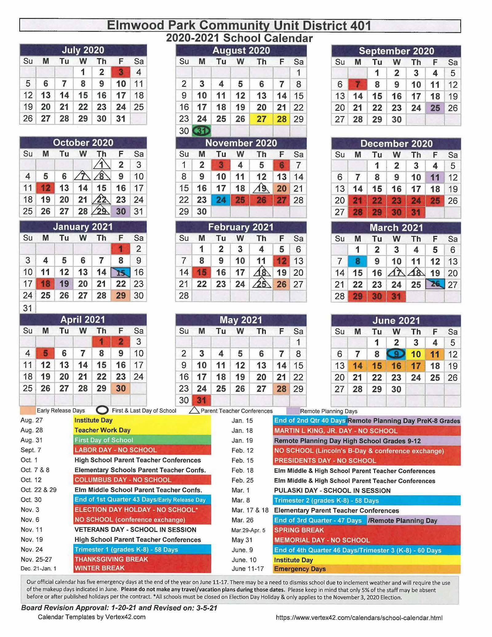 2020-21 revised school-year calendar