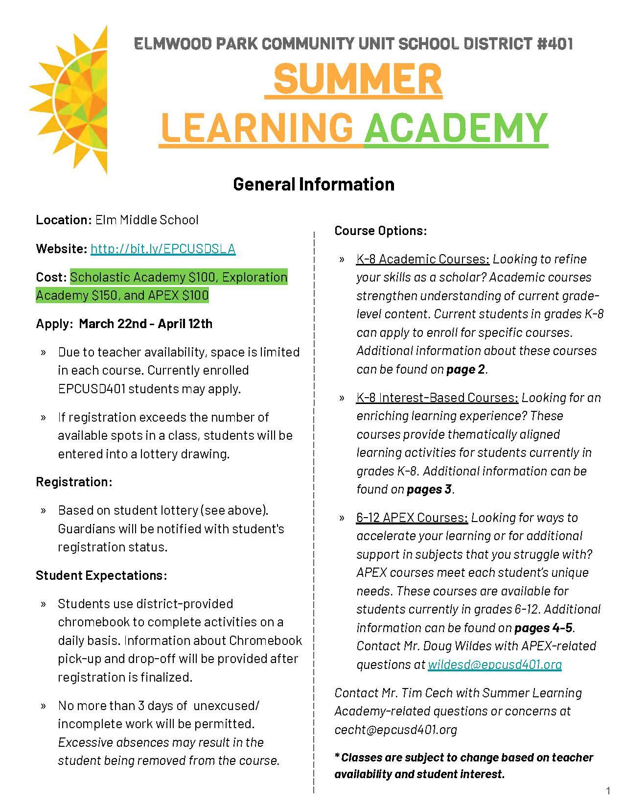 2021 Summer Learning Academy flyer