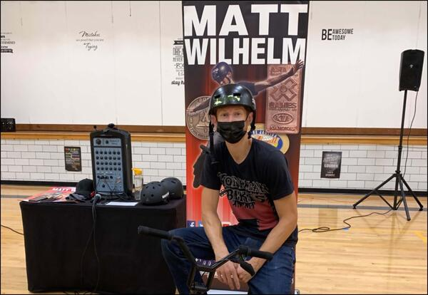 Assembly Speaker Uses BMX Skills to Get Positive Message Across