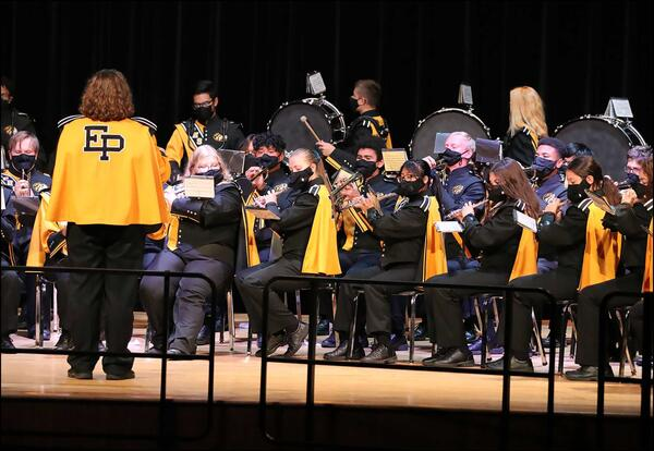 The EPHS Marching Tigers perform during Kaleidoscope Concert 2021 in the EPHS auditorium.