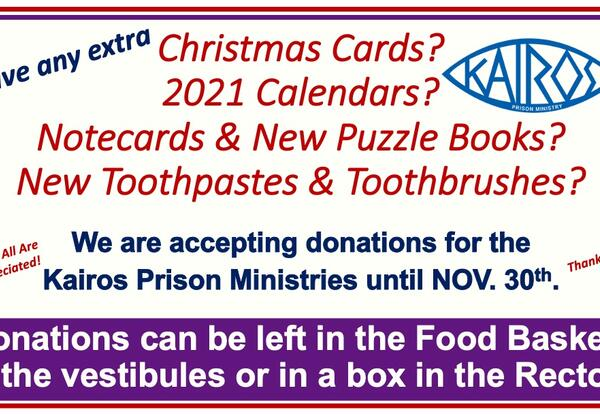 Help the Kairos Ministry Brighten the Christmas of The Imprisoned