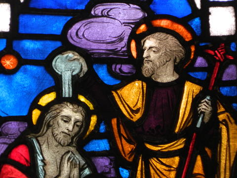 Stained Glass Church Window with Jesus being baptized