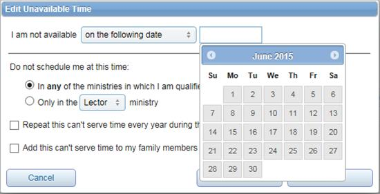 Edit Unavailable Time window showing calendar to choose dates