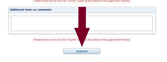 Edit Unavailable Time confirmation window with arrow pointing to submit button