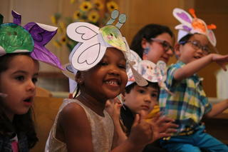 happy kids with funny hats