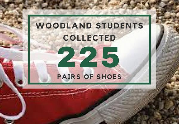 Woodland Students Collect 225 Shoes for Charity