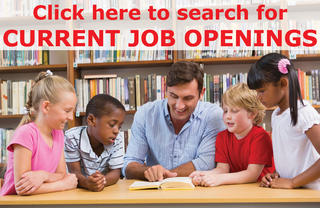 "photo of teacher with students ""Click here to search for current job openings"""