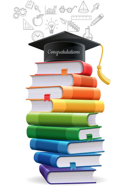 "Stack of books with graduation cap on top, says ""congratulations"""