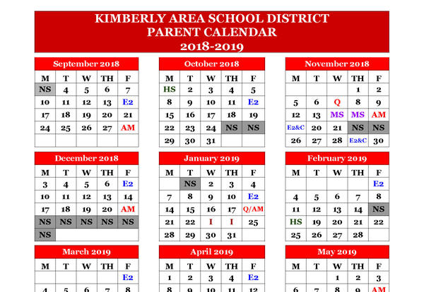 December 2019 School Calendar Parent Calendar for 2018 19 School Year Now Available | Communications