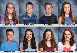 Photos of 7th and 8th grade individual award winners