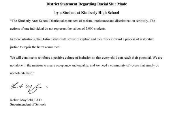 District Statement Regarding Incident at Kimberly High School