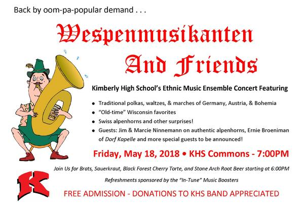 Wespenmusikanten And Friends - Kimberly High School's Ethnic Music Ensemble Concert Set for May 18