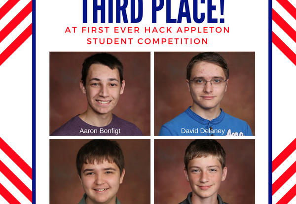 Photo layout of the students who earned third place at Hack Appleton.