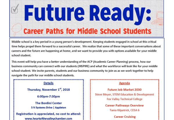 """Upcoming Event """"Future Ready: Career Paths for Middle School Students"""""""