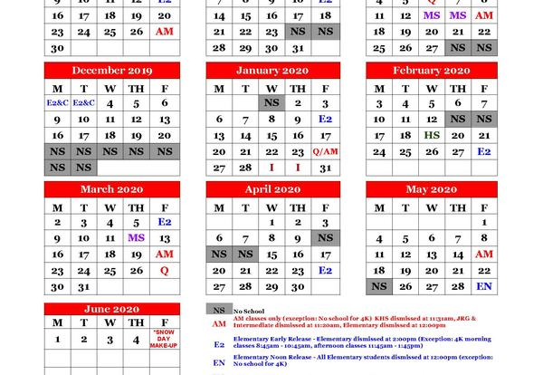 Parent Calendar for 2019-20 School Year