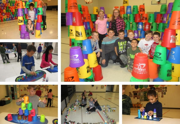photo collage of students with their cup stacks