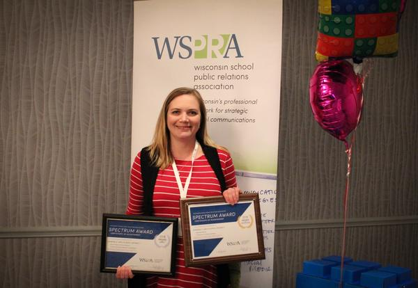 Nicole Noonan received awards for communication projects at the WSPRA conference.