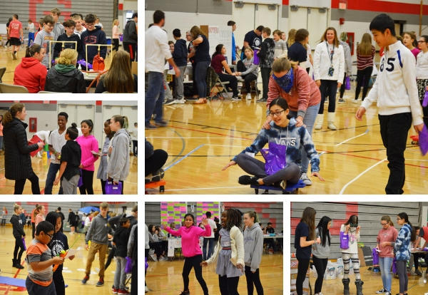 photo collage of students at the fair