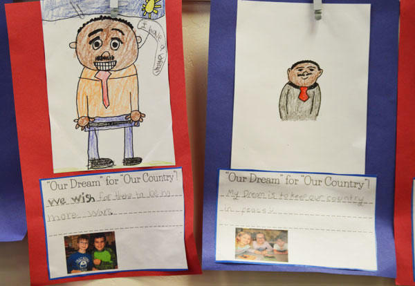 Two student essays and drawn portraits for Martin Luther King Jr. Day