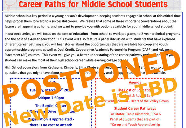"POSTPONED - ""Future Ready: Career Paths for Middle School Students"""
