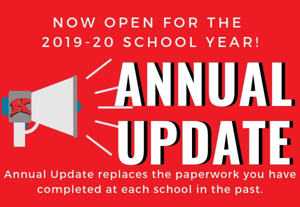 Graphic announcing Annual Update is now open