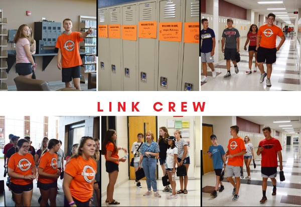 photo collage from event showing groups of students with link crew members around KHS