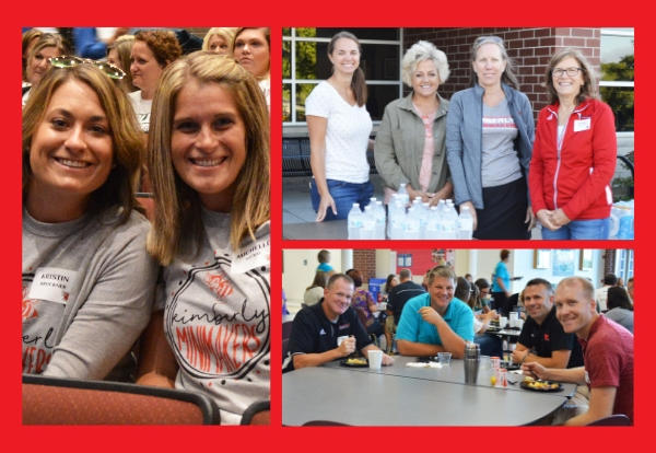 Collage of photos from all-staff welcome back event