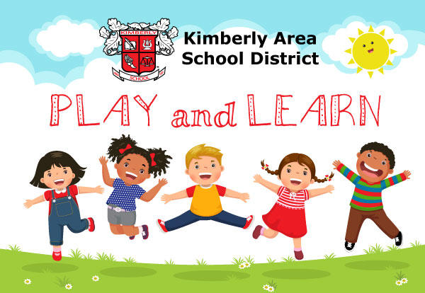 "Illustration of five children jumping with District logo and words ""Play and Learn"""