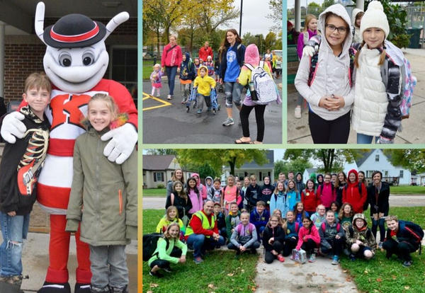 Collage of students participating in Walk to School Day.