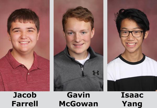 Portraits of Jacob Farrell, Gavin McGowan and Isaac Yang