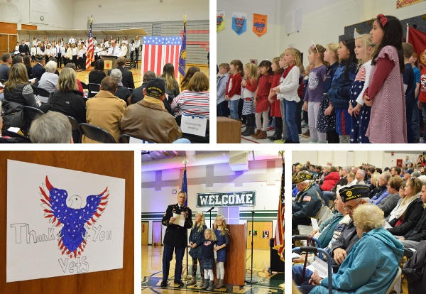 collage of photos from Veteran's Day events