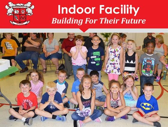 Photo of students, text: Indoor Facility, Building for their future
