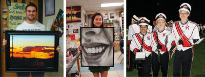 Collage of students holding art and members of the marching band