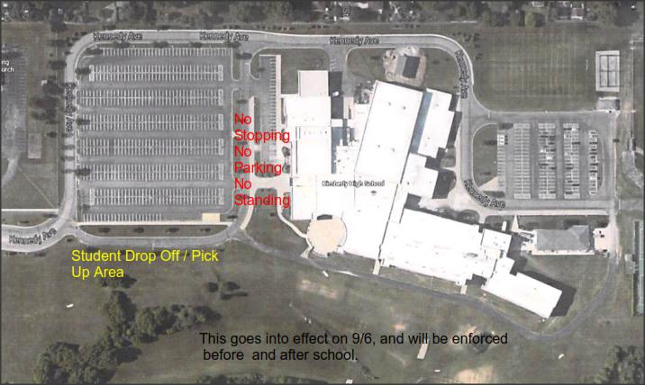 Graphic showing pick up and drop off zones at KHS