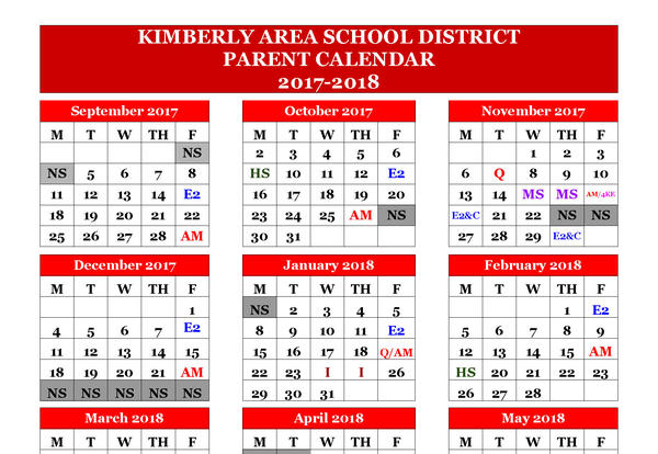Parent Calendar for 2017-18 School Year Now Available