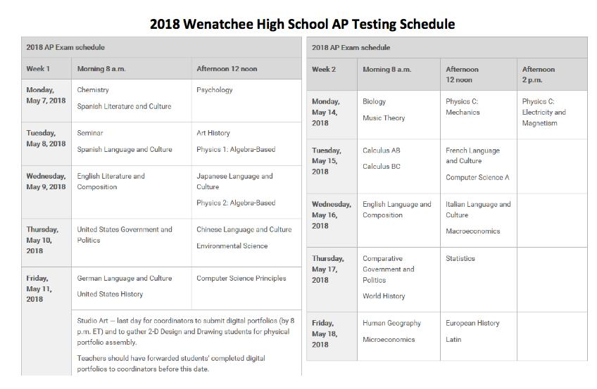 AP Testing Schedule | May 7   18, 2018 | Wenatchee High School