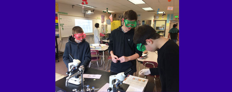 8th grade science students and microcopes