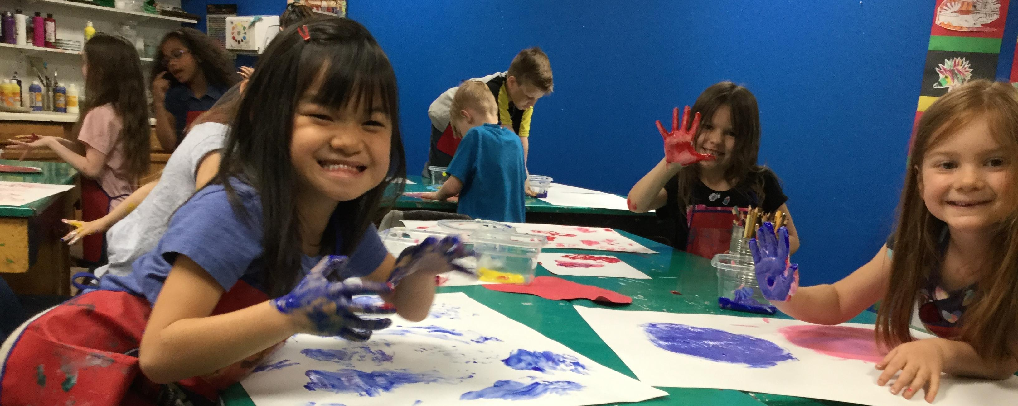 Getting messy in Mrs. Pease's art class