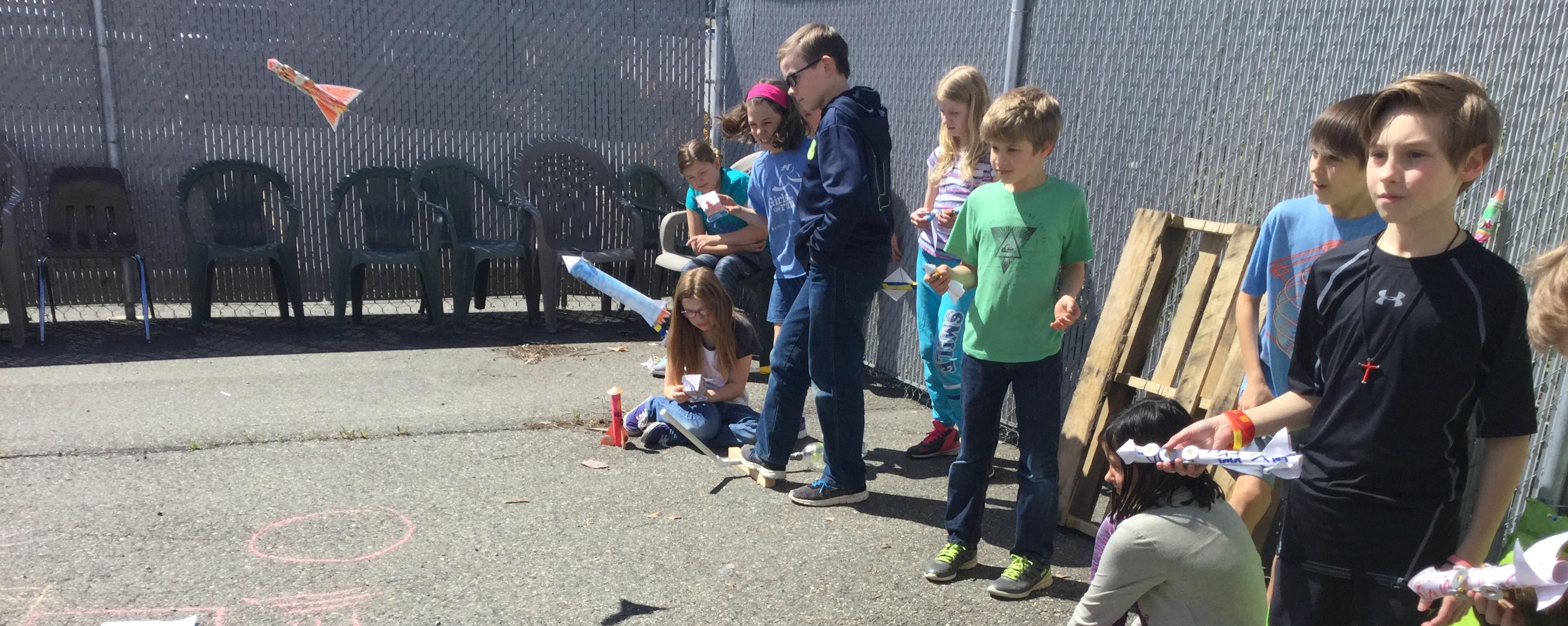 Rocketry students launch their inventions.