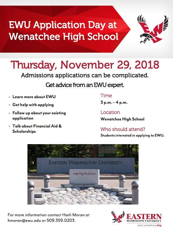 Ewu Financial Aid >> Ewu Application Day November 29 2018 Wenatchee High School