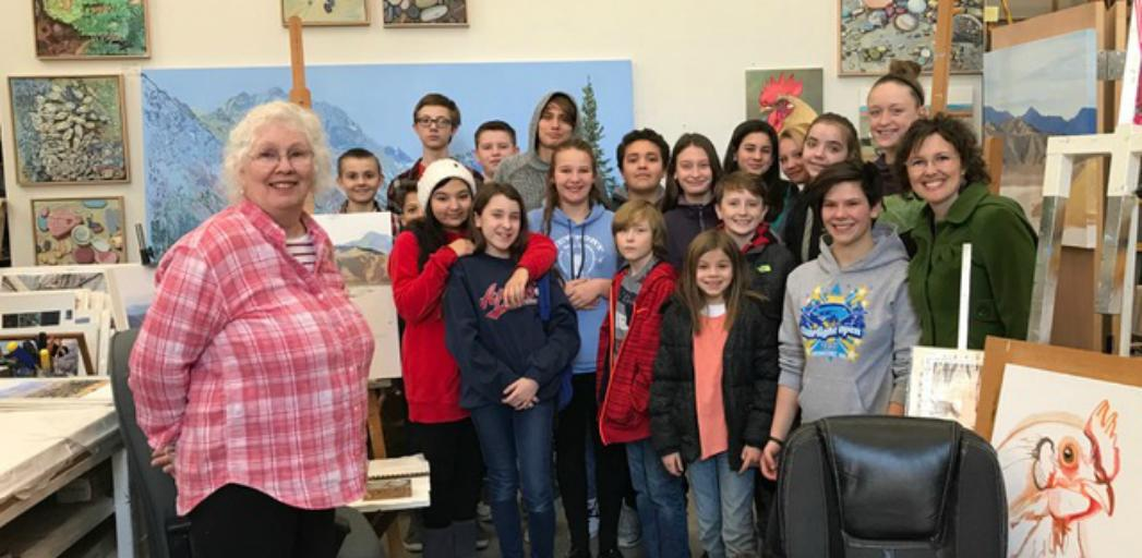 Jan Cook Mack inspired our middle school art students during a recent field trip to her studio.