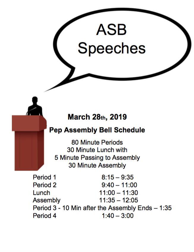 Assembly Schedule | March 28, 2019 | Wenatchee High School