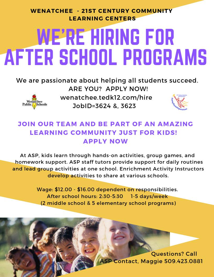 We're Hiring for After School Programs