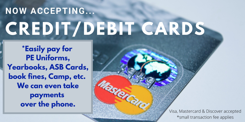 CREDIT/DEBIT CARDS ACCEPTED for school supplies